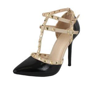 Wild Diva Rock Stud Double Strap Heels